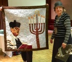 Dorothy Klein - wall hanging with cantor husband, and menorah