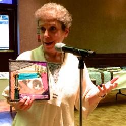 Janis Katz - with crazy quilt self-portrait