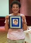 Karen Sanders - self-portrait in quilt square