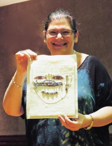 Reesa Wasser with self-portrait as musician