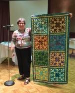 Sandra Birnbaum - with 72 block quilt