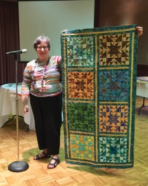 Sandra Birnbaum - with 72 block quilt